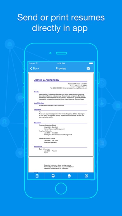Screenshots  Mobile Resume Builder
