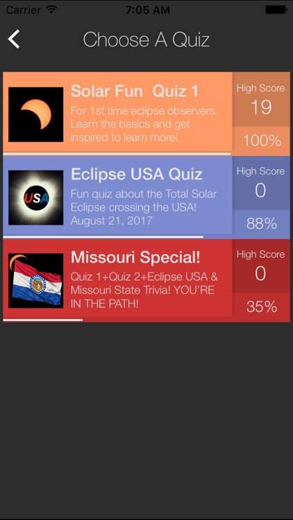 Solar Eclipse USA Quiz Game