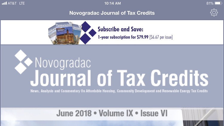 Journal of Tax Credits