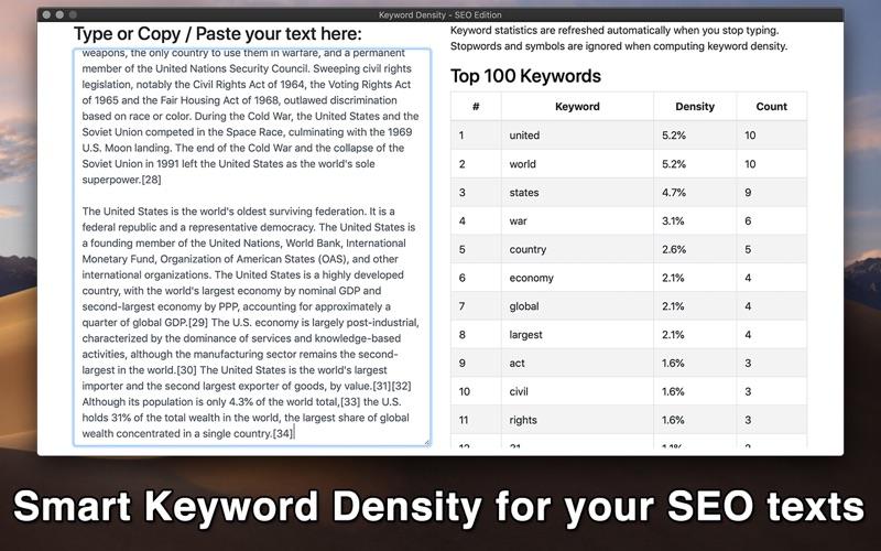 Keyword Density - SEO Edition for Mac