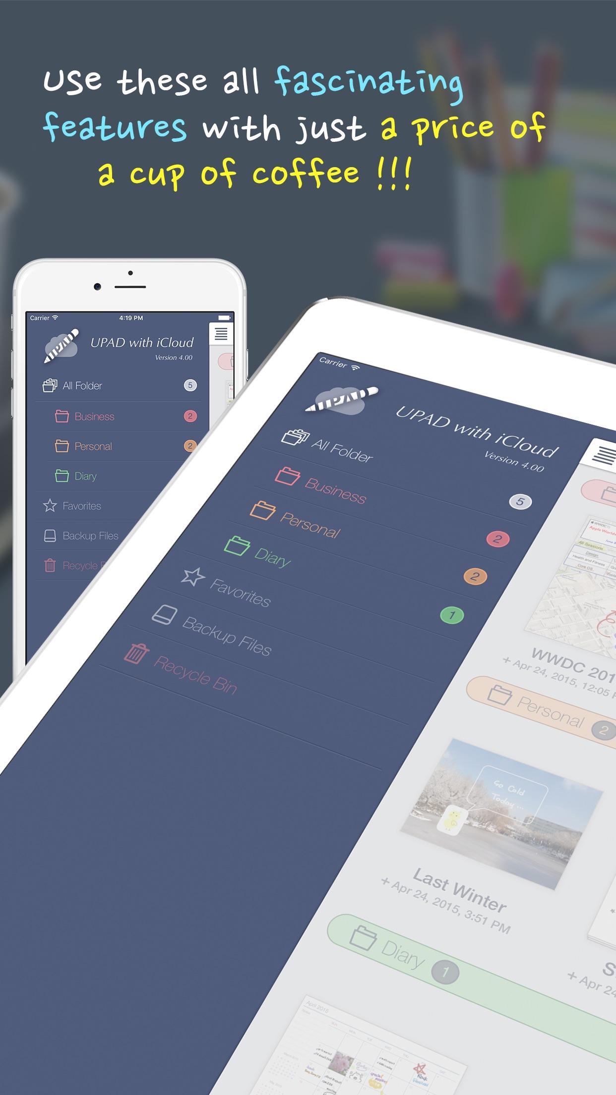 Screenshot do app UPAD for iCloud