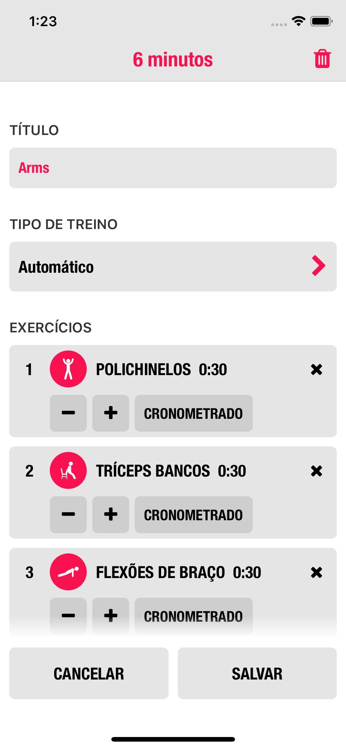 Screenshot do app Streaks Workout