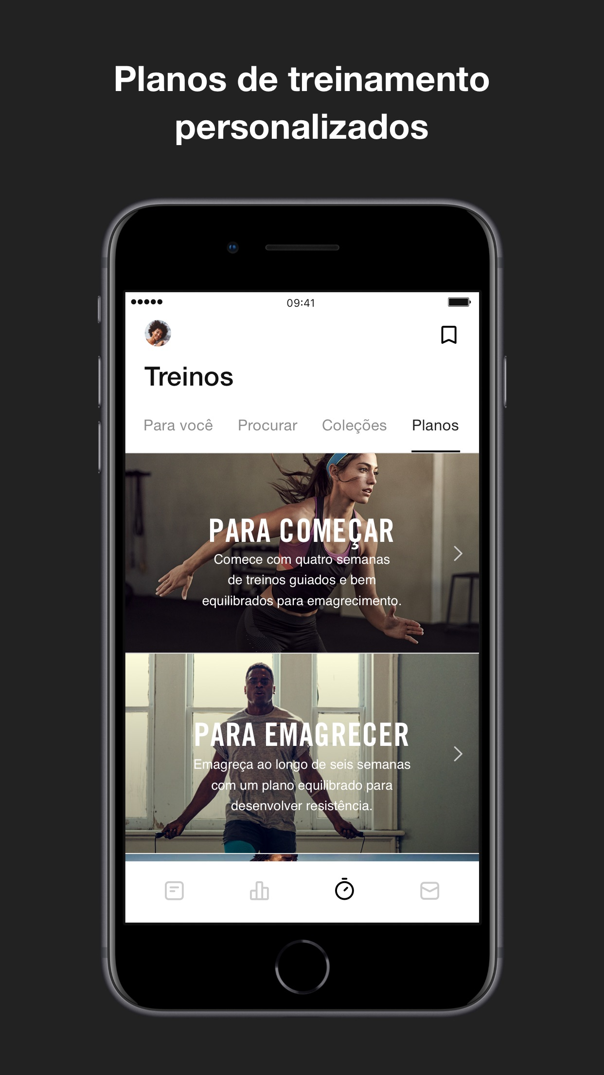 Screenshot do app Nike Training Club