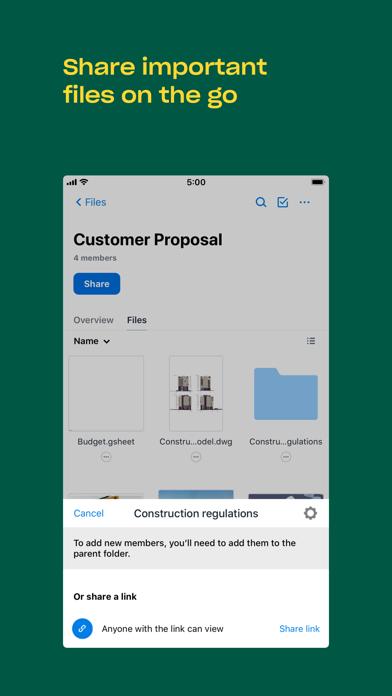 Dropbox Screenshot on iOS
