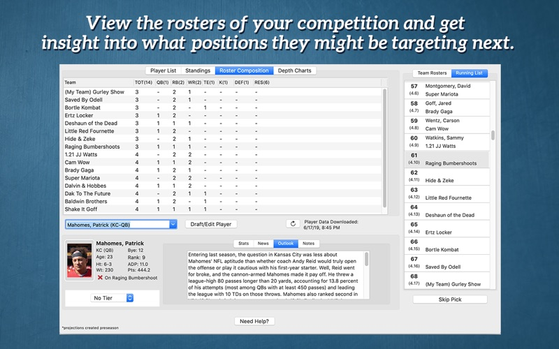 Fantasy Football Draft Kit '19 скриншот программы 3