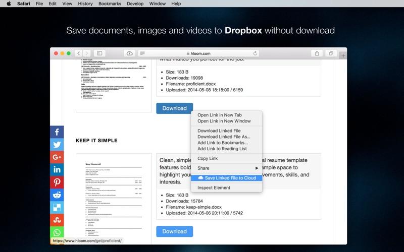 Save to Dropbox for Safari Screenshot