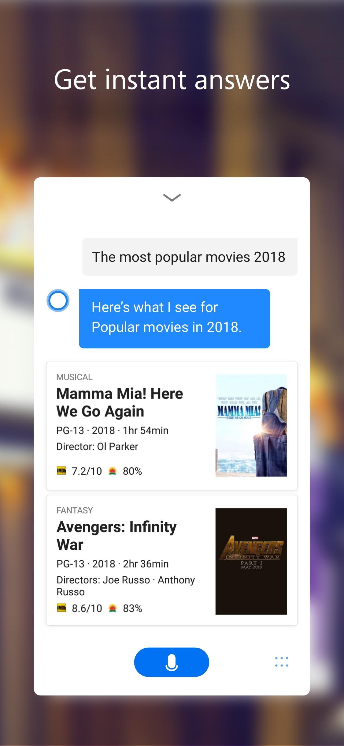 Screenshot do app Cortana