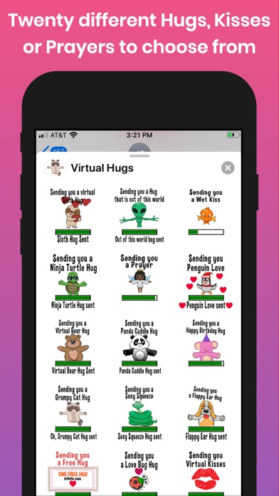 Screenshot of Virtual Hugs, Kisses & Prayers App