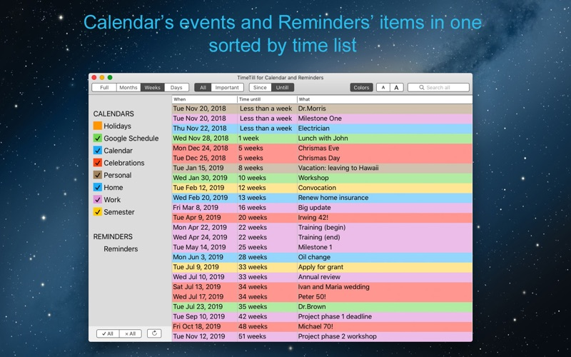 TimeTill for Calendar скриншот программы 1