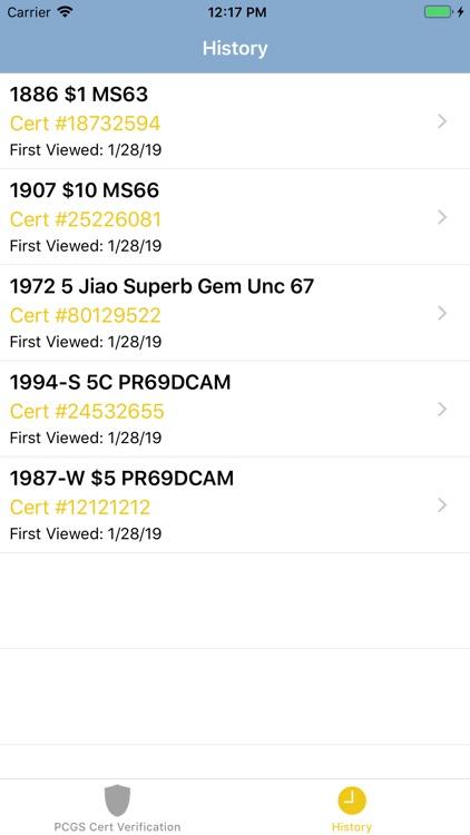 PCGS Cert Verification screenshot-3