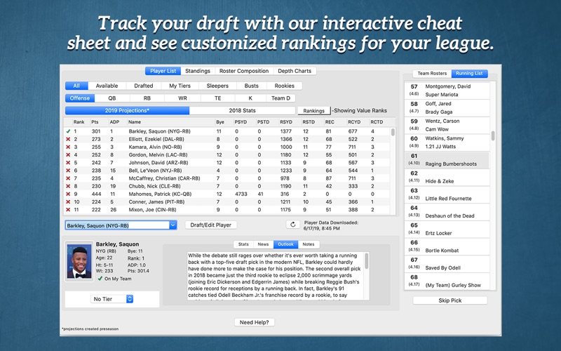 Fantasy Football Draft Kit '19 скриншот программы 1