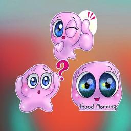 Pink Big Eye Emoji Stickers