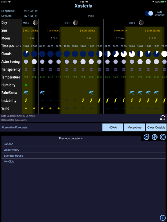Xasteria: Astronomy Weather screenshot