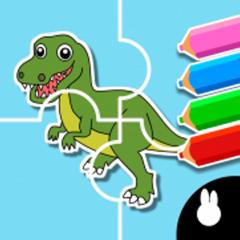 Dinosaur puzzle Doodle Colorin