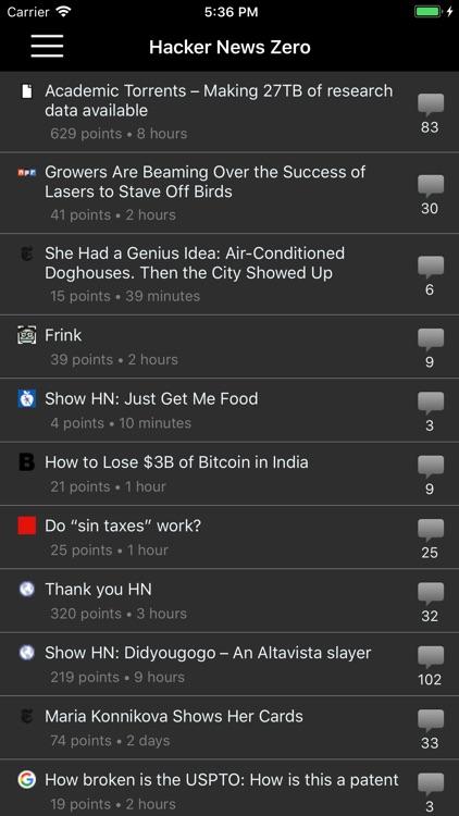 Hacker News Zero