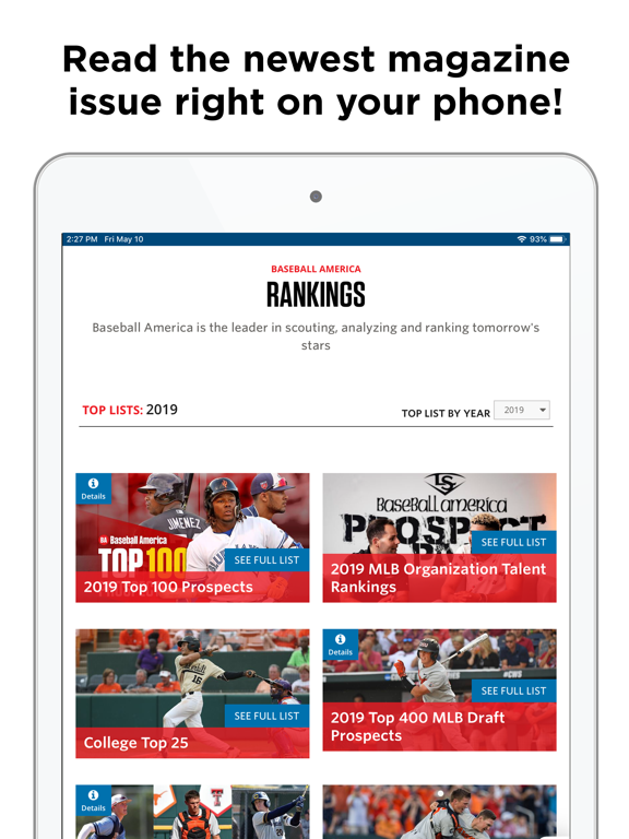 Baseball America Magazine screenshot