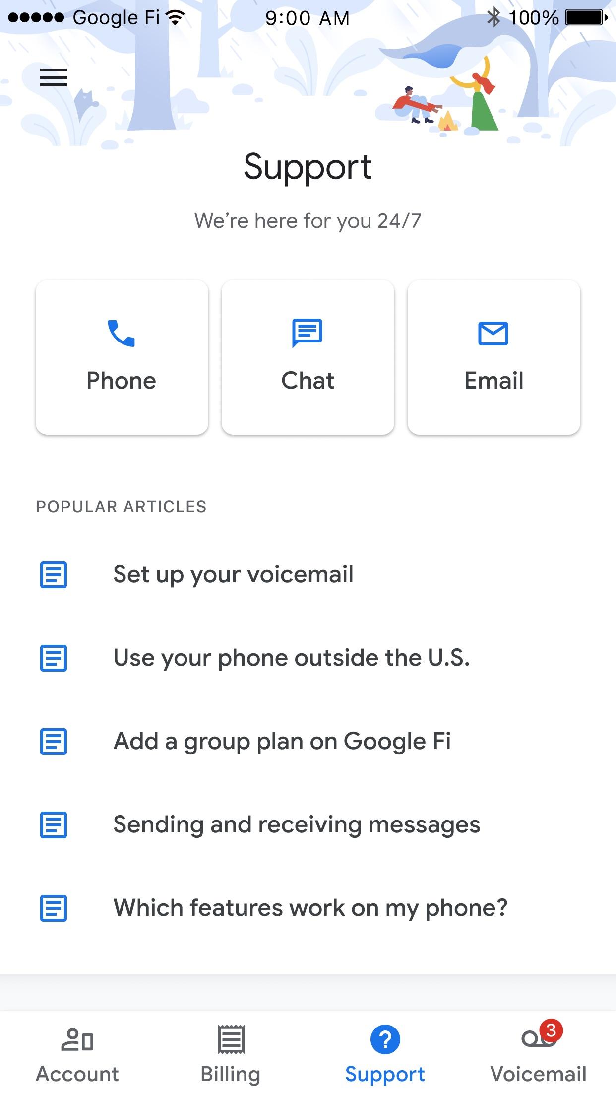 Screenshot do app Google Fi