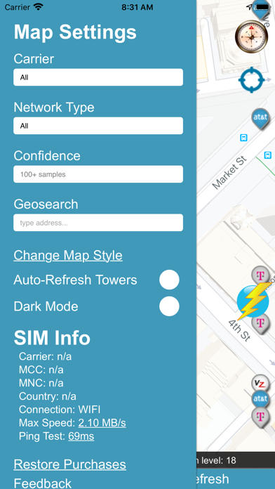 Cellular Network Signal Finder Screenshot