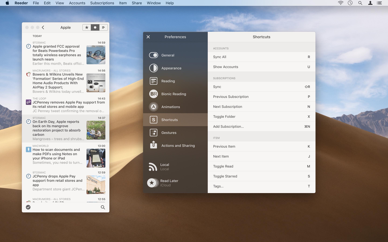 Screenshot do app Reeder 4