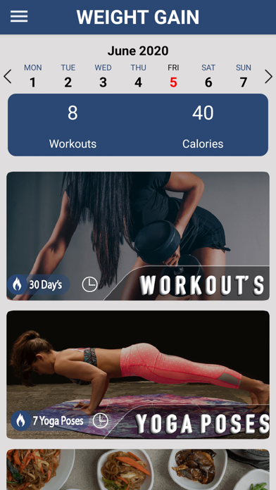 Weight Gain Workouts Food Diet screenshot one