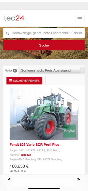tec24 on the app store  gebrauchte landmaschinen ubers iphone #2