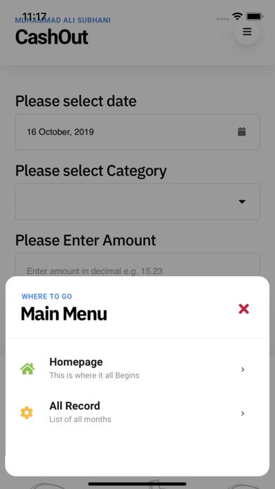 Screenshot of Cash Out App