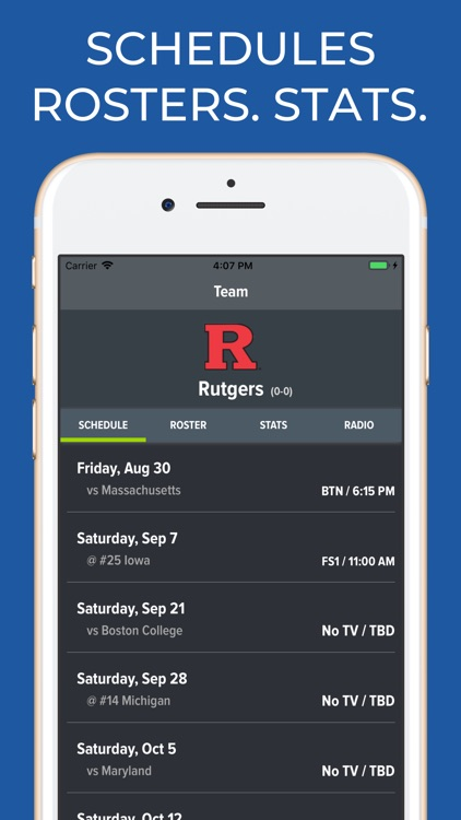 Rutgers Football Schedules
