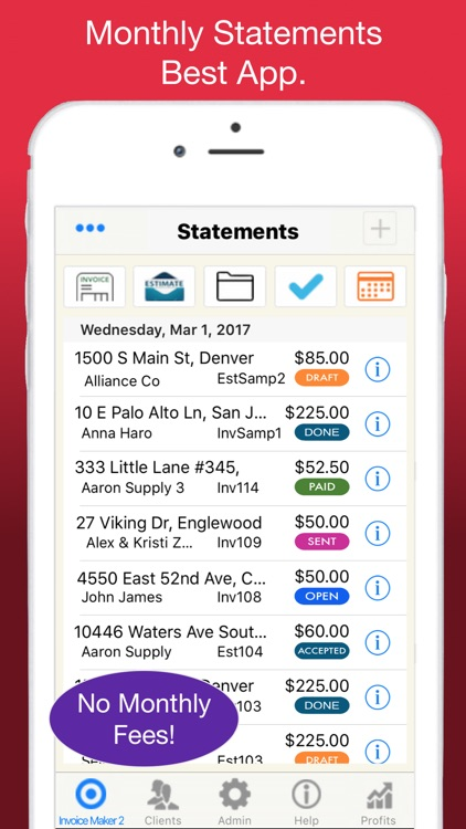 Statements for Monthly Billing