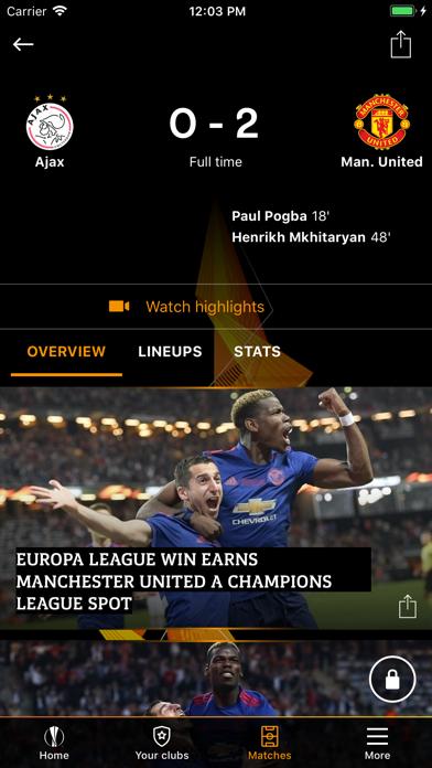 Screenshot #1 pour UEFA Europa League Officiel