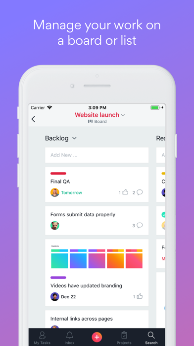 Screenshot for Asana: organize tasks & work in Indonesia App Store