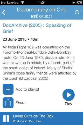 RTÉ Radio Documentary on One - náhled