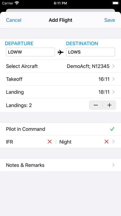 Screenshot #2 pour SkyPilot 3 - Flight Logbook