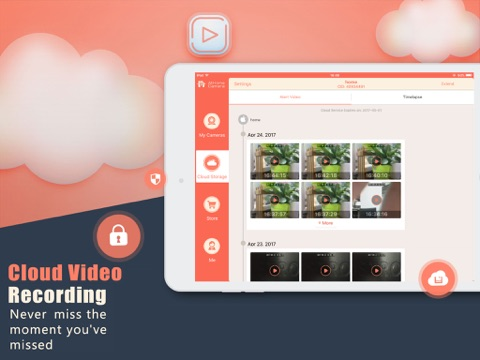 Screenshot of AtHome Camera Security App