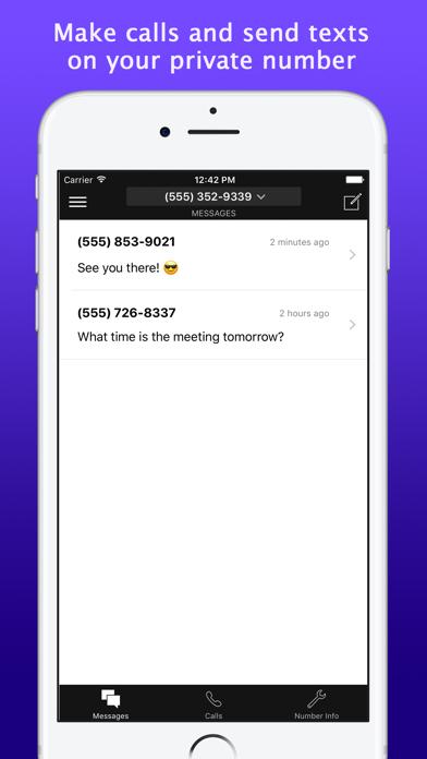 Second Line Calling/Texting Screenshot
