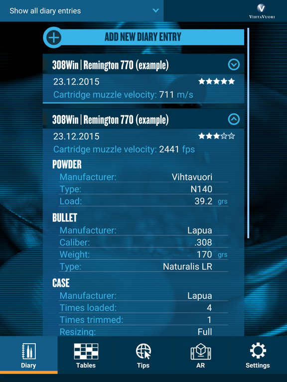 Vihtavuori Reload screenshot