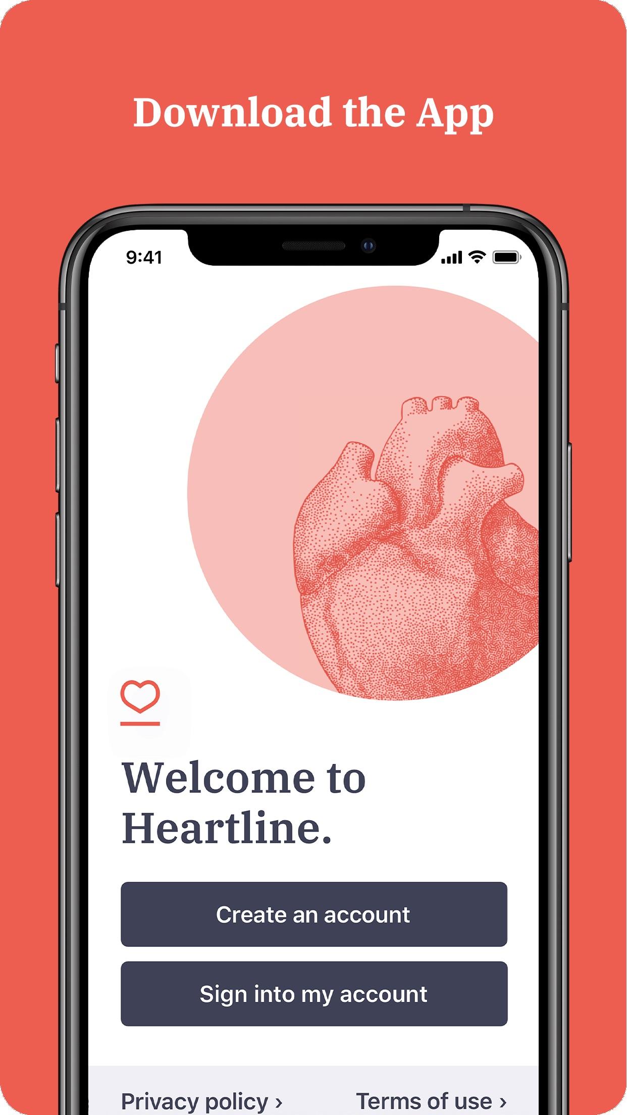 Screenshot do app Heartline Study