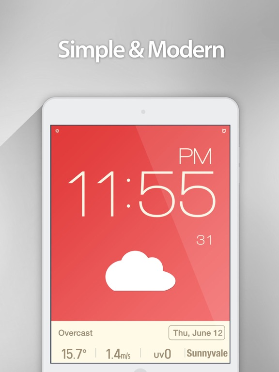 Screenshot #4 pour Red Clock - Weather & Alarm