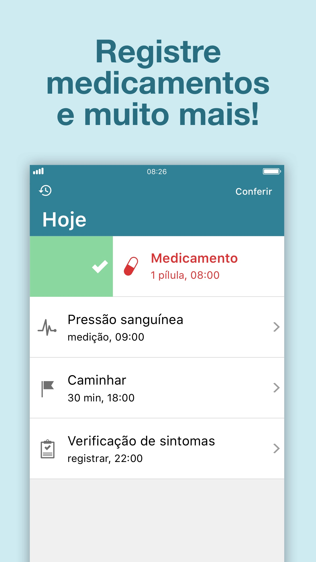 Screenshot do app Alarme de medicamentos