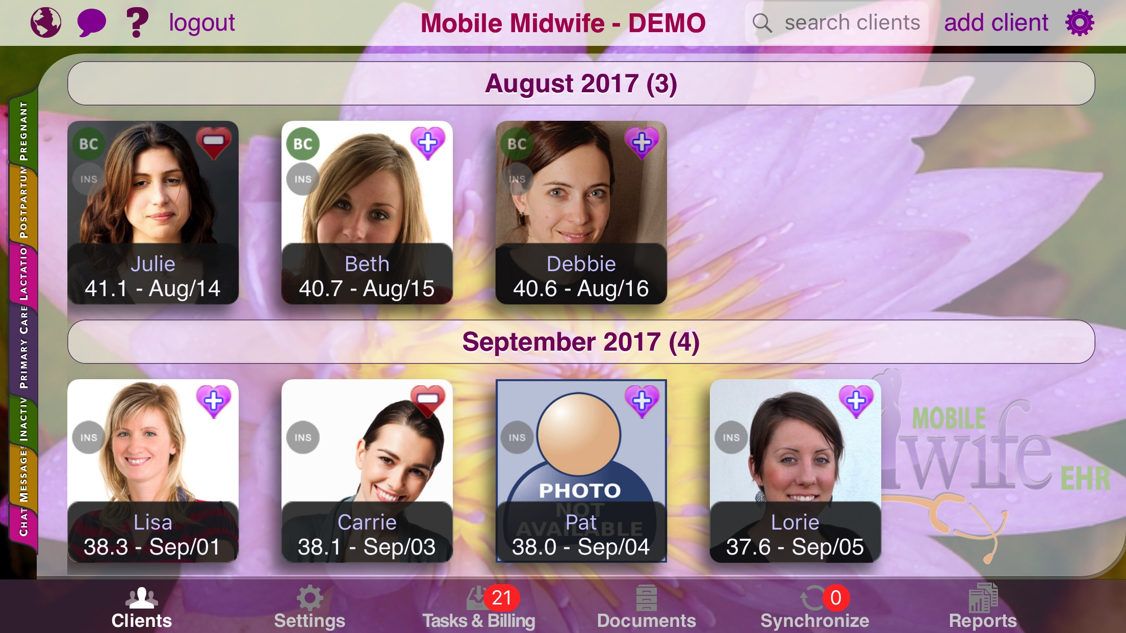 Mobile Midwife EHR Screenshot