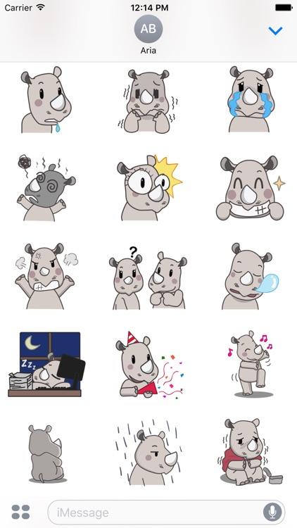 Cute Rhino RhinoMoji Sticker