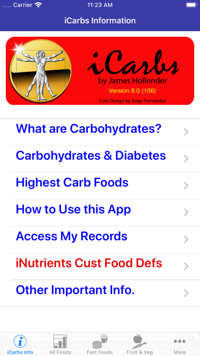 iCarbs screenshot one