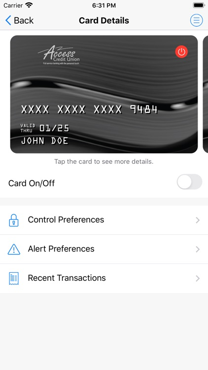 Access Debit Card Control
