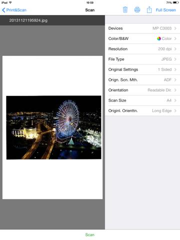 Screenshot of RICOH Smart Device Print&Scan