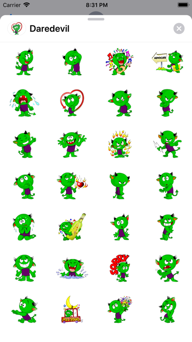 Screenshot of Dare devil sticker App