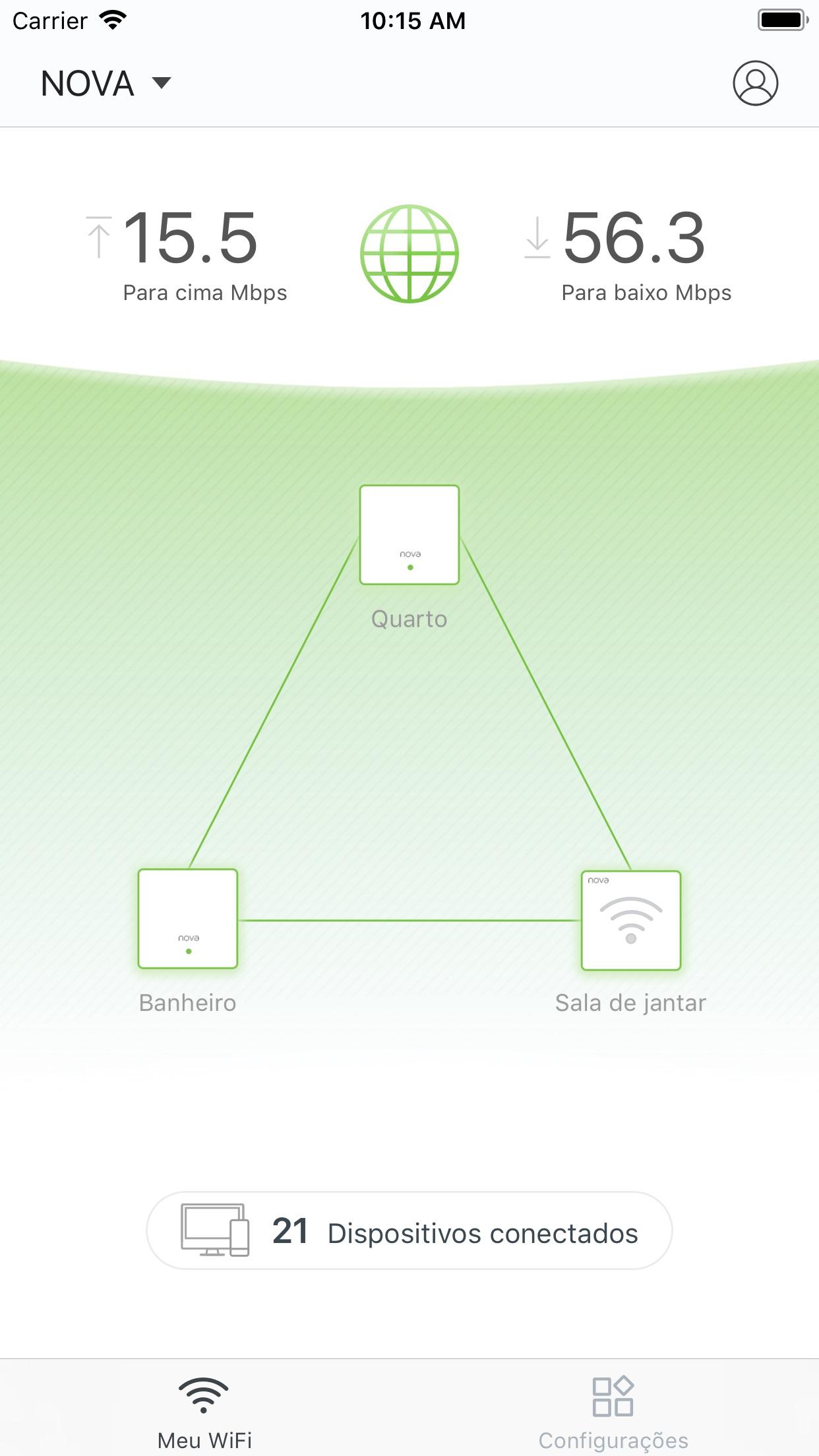 Screenshot do app Tenda WiFi