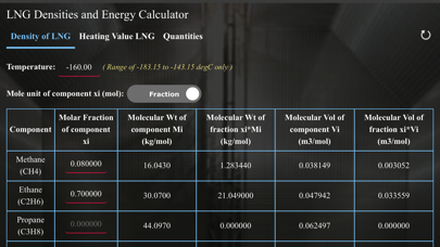 Screenshot #1 pour LNG Densities and Energy calc