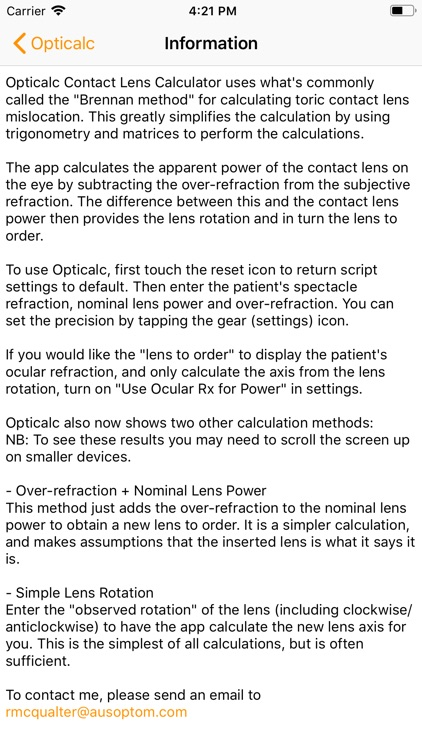 Opticalc Contact Lens Calc