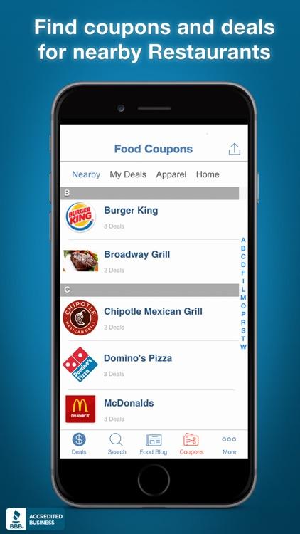 Food Coupons, Fast Food Deals screenshot-0