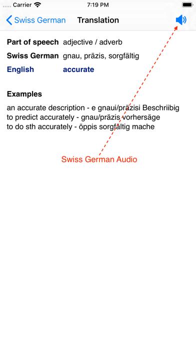 Swiss German Dictionary screenshot two