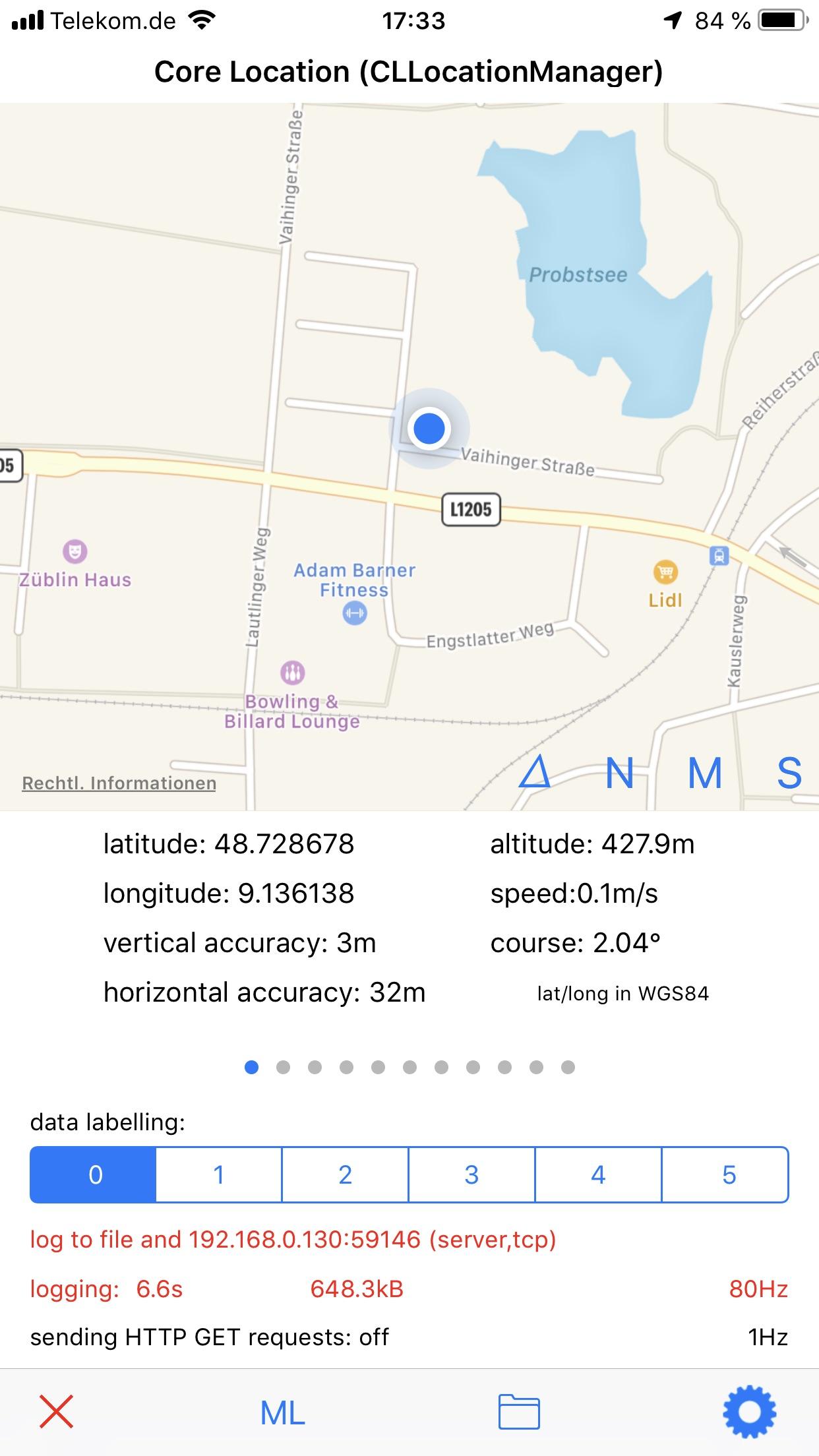 SensorLog Screenshot